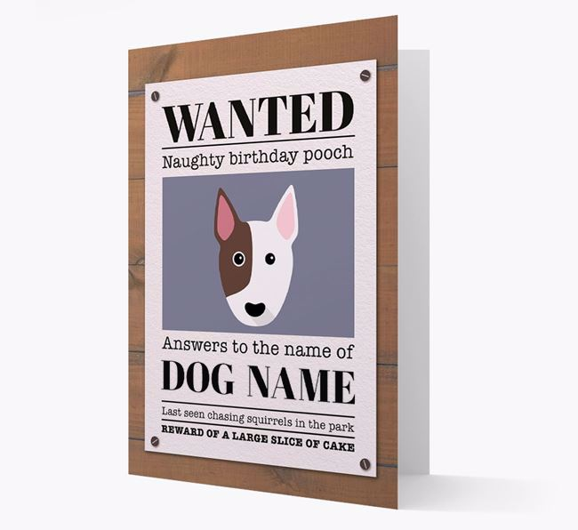 Personalized Card 'WANTED: Naughty Birthday Pooch' with Bull Terrier Icon