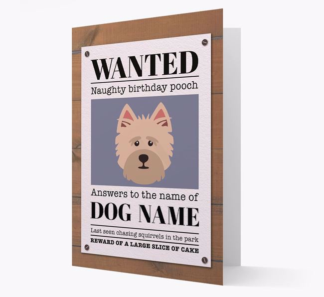 Personalized Card 'WANTED: Naughty Birthday Pooch' with Cairn Terrier Icon