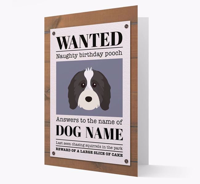 Personalized Card 'WANTED: Naughty Birthday Pooch' with Cavapoo Icon