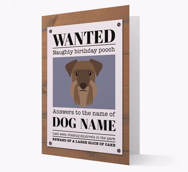 Personalised Card 'WANTED: Naughty Birthday Pooch' with Cesky Terrier Icon