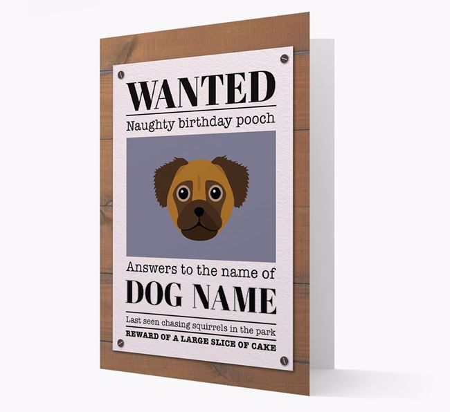 Personalised Card 'WANTED: Naughty Birthday Pooch' with Chug Icon