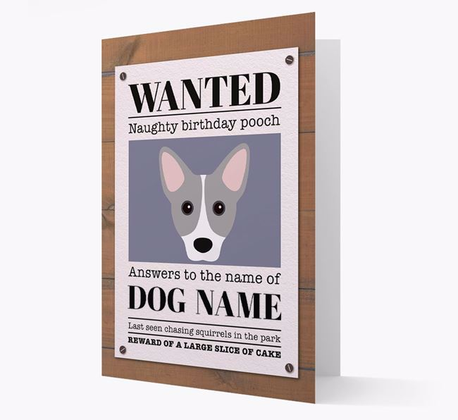 Personalised Card 'WANTED: Naughty Birthday Pooch' with Cojack Icon