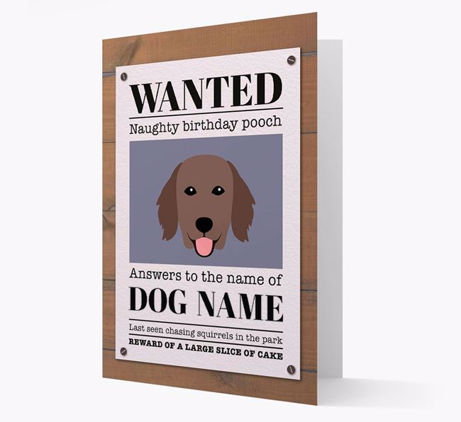 Personalized Card 'WANTED: Naughty Birthday Pooch' with Flatcoat Icon
