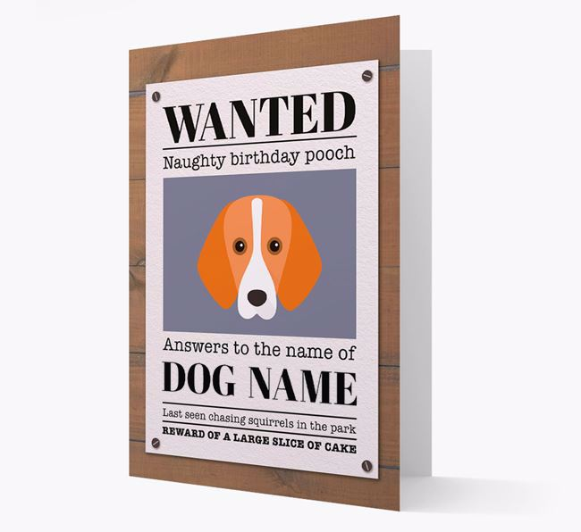 Personalised Card 'WANTED: Naughty Birthday Pooch' with Foxhound Icon