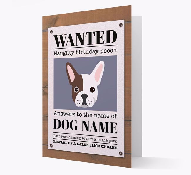 Personalised Card 'WANTED: Naughty Birthday Pooch' with Frenchie Icon