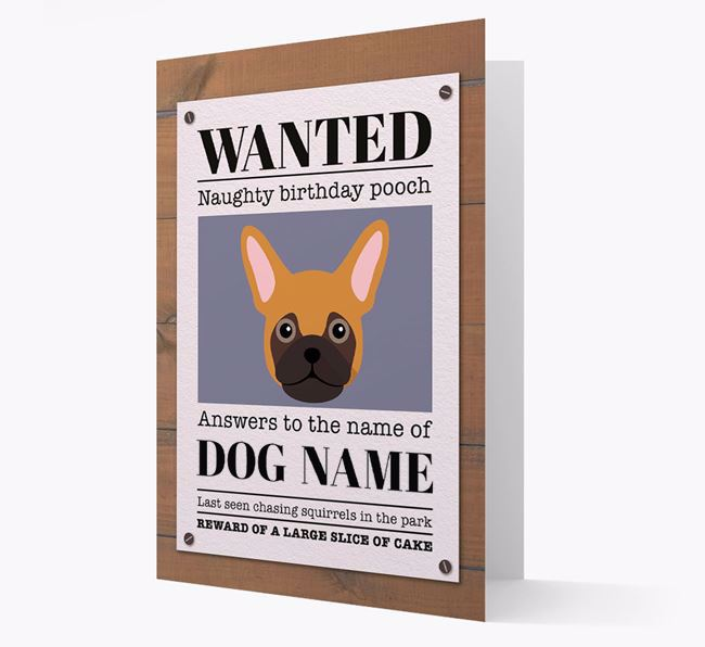 Personalized Card 'WANTED: Naughty Birthday Pooch' with Frug Icon