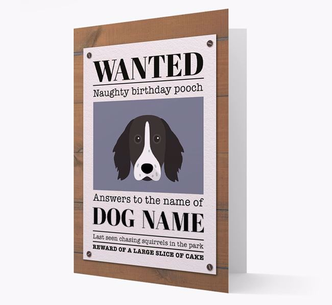 Personalized Card 'WANTED: Naughty Birthday Pooch' with Longhaired Pointer Icon