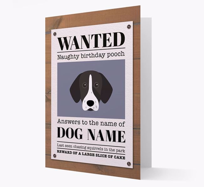Personalized Card 'WANTED: Naughty Birthday Pooch' with Shorthaired Pointer Icon
