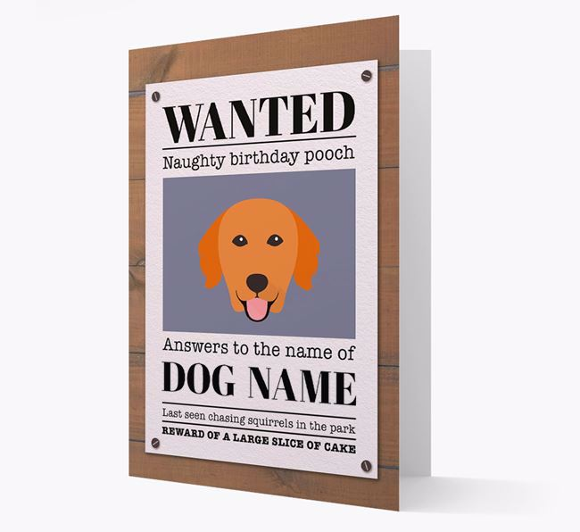 Personalized Card 'WANTED: Naughty Birthday Pooch' with Golden Retriever Icon