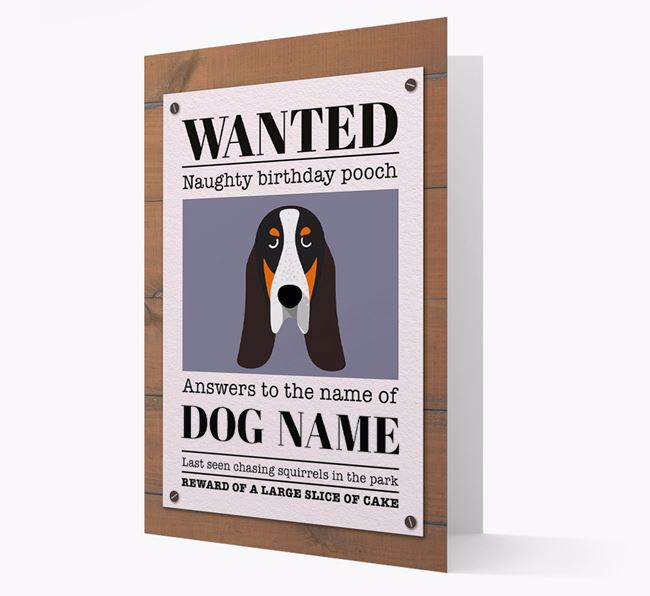 Personalised Card 'WANTED: Naughty Birthday Pooch' with Grand Bleu Icon