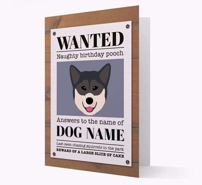 Personalized Card 'WANTED: Naughty Birthday Pooch' with Greenland Dog Icon