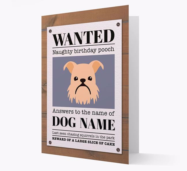 Personalized Card 'WANTED: Naughty Birthday Pooch' with Brussels Griffon Icon