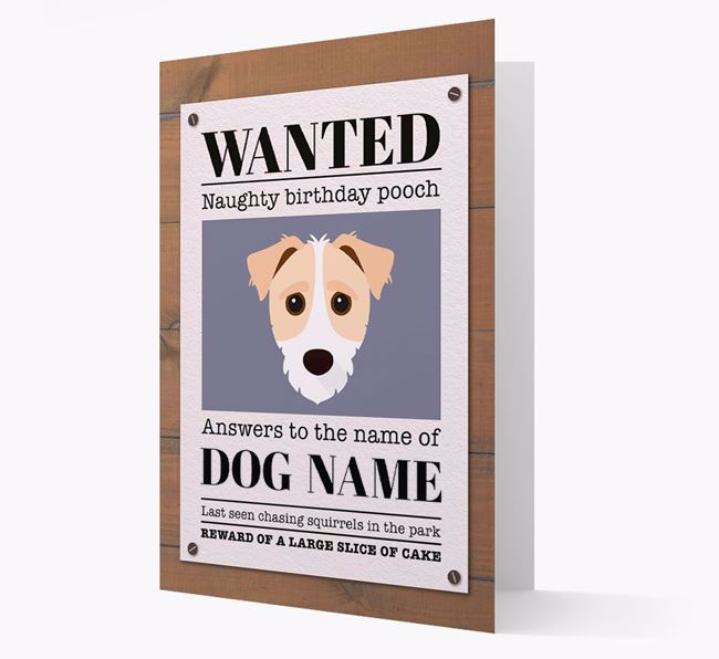 Personalised Card 'WANTED: Naughty Birthday Pooch' with Jack-a-Poo Icon