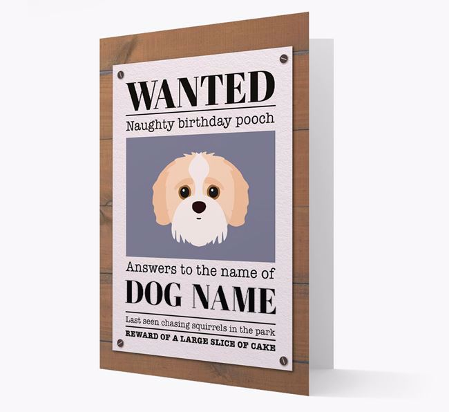Personalized Card 'WANTED: Naughty Birthday Pooch' with Jack-a-Poo Icon