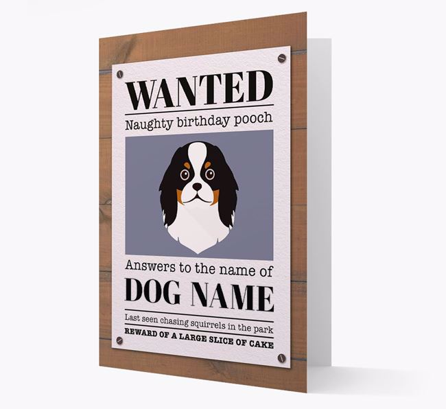 Personalized Card 'WANTED: Naughty Birthday Pooch' with Japanese Chin Icon