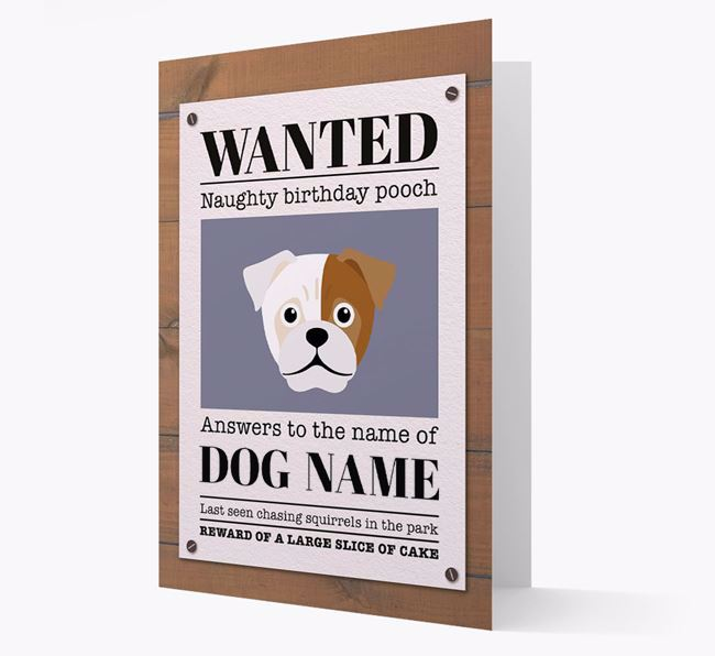 Personalized Card 'WANTED: Naughty Birthday Pooch' with Jug Icon