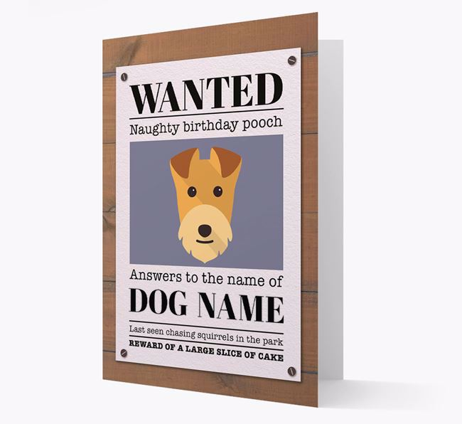 Personalized Card 'WANTED: Naughty Birthday Pooch' with Lakeland Icon