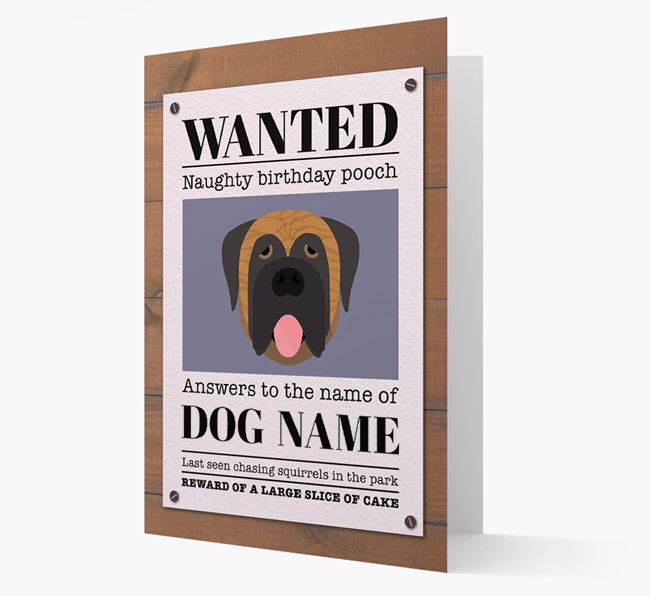 Personalized Card 'WANTED: Naughty Birthday Pooch' with Mastiff Icon