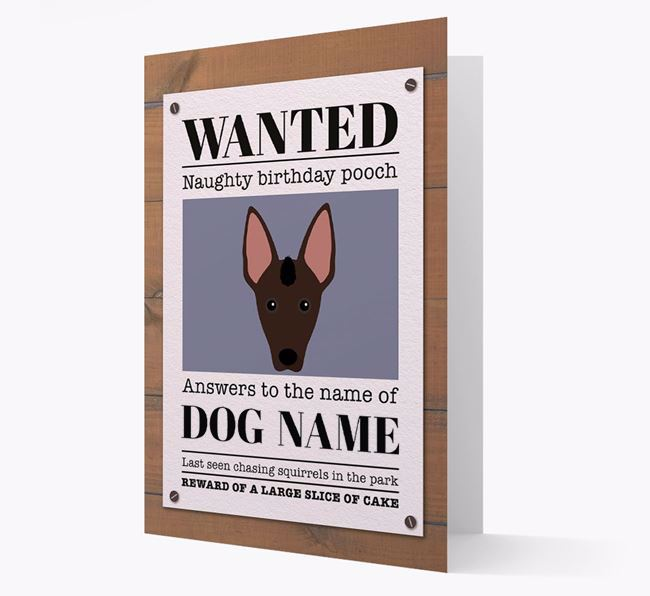 Personalised Card 'WANTED: Naughty Birthday Pooch' with Mexican Hairless Icon