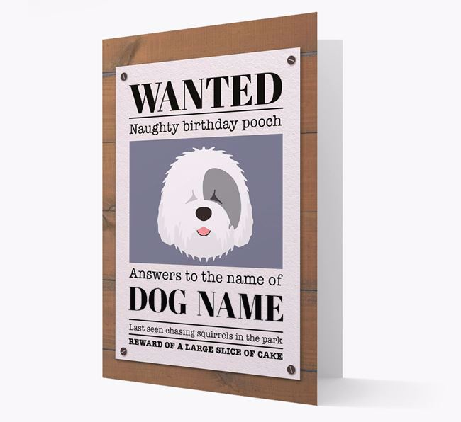 Personalized Card 'WANTED: Naughty Birthday Pooch' with Sheepdog Icon