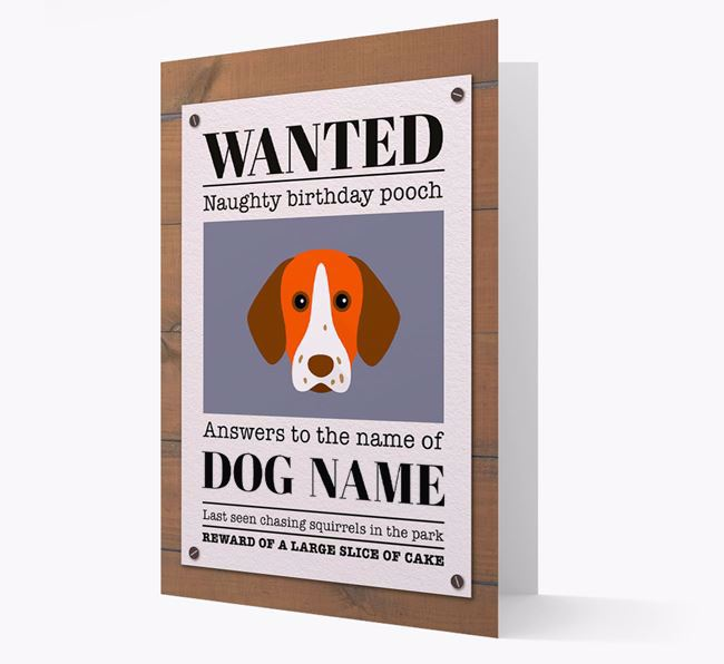 Personalized Card 'WANTED: Naughty Birthday Pooch' with Pointer Icon