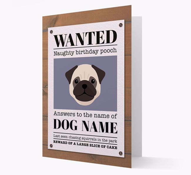 Personalized Card 'WANTED: Naughty Birthday Pooch' with Dog Icon