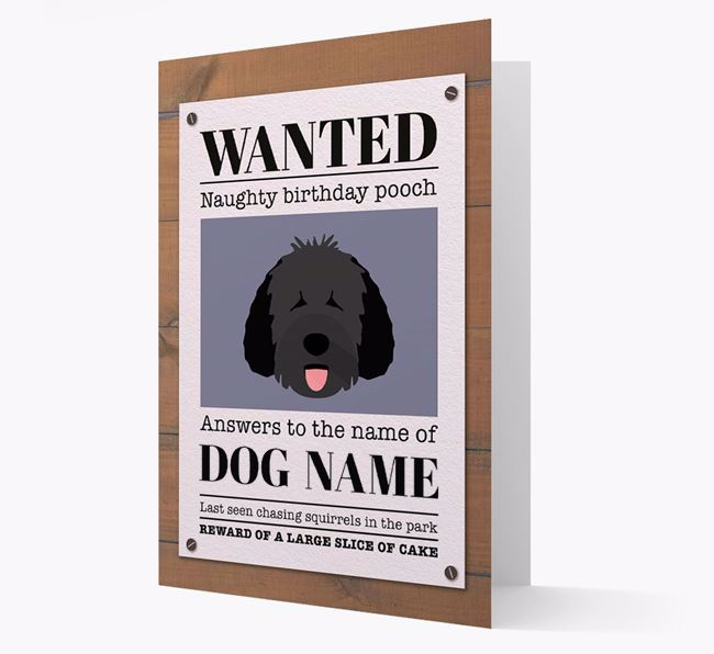 Personalised Card 'WANTED: Naughty Birthday Pooch' with Dog Icon
