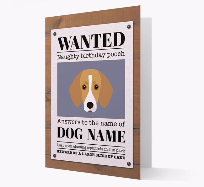 Personalized Card 'WANTED: Naughty Birthday Pooch' with Trailhound Icon