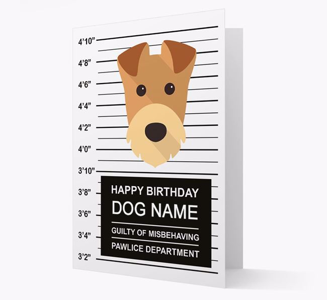 Personalised Card 'Guilty of Misbehaving' with Airedale Icon