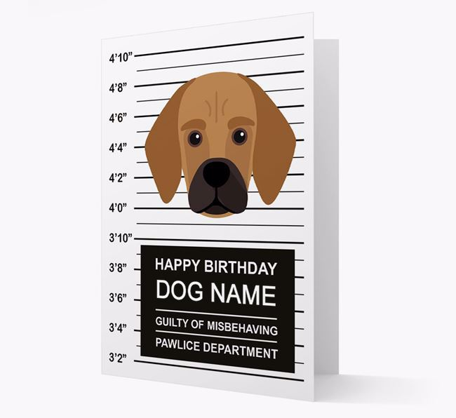 Personalised Card 'Guilty of Misbehaving' with Bassugg Icon
