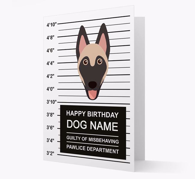 Personalised Card 'Guilty of Misbehaving' with Belgian Shepherd Icon