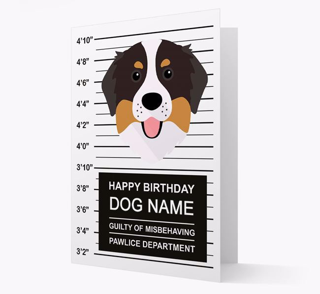 Personalized Card 'Guilty of Misbehaving' with Bernese Icon