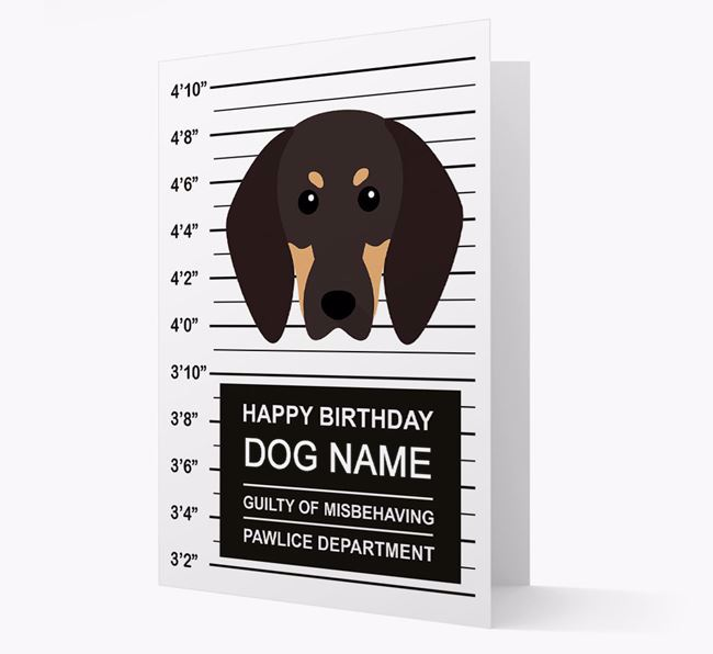 Personalised Card 'Guilty of Misbehaving' with Coonhound Icon