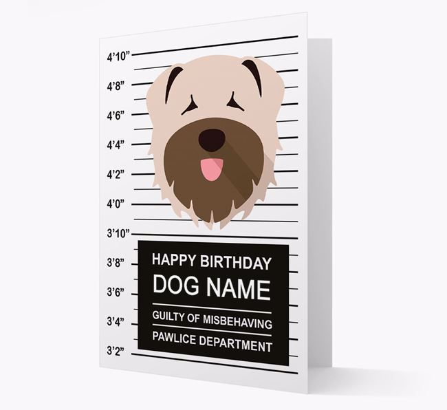 Personalised Card 'Guilty of Misbehaving' with Bouvier Des Flandres Icon
