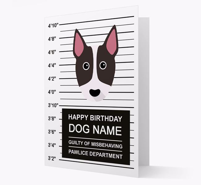 Personalised Card 'Guilty of Misbehaving' with Bull Terrier Icon