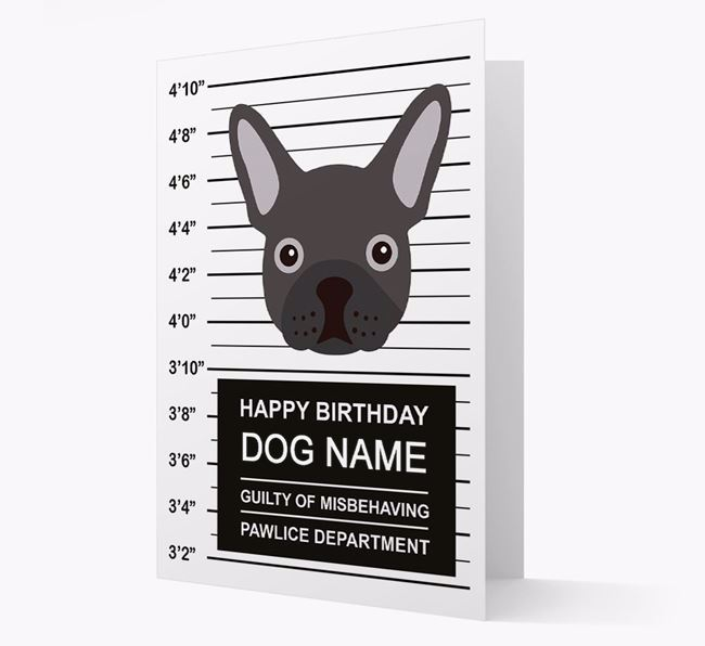 Personalised Card 'Guilty of Misbehaving' with Frenchie Icon