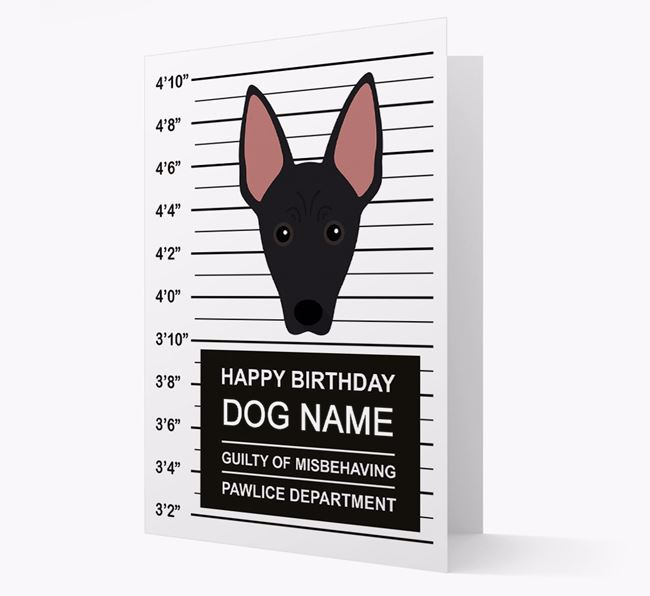 Personalised Card 'Guilty of Misbehaving' with Mexican Hairless Icon