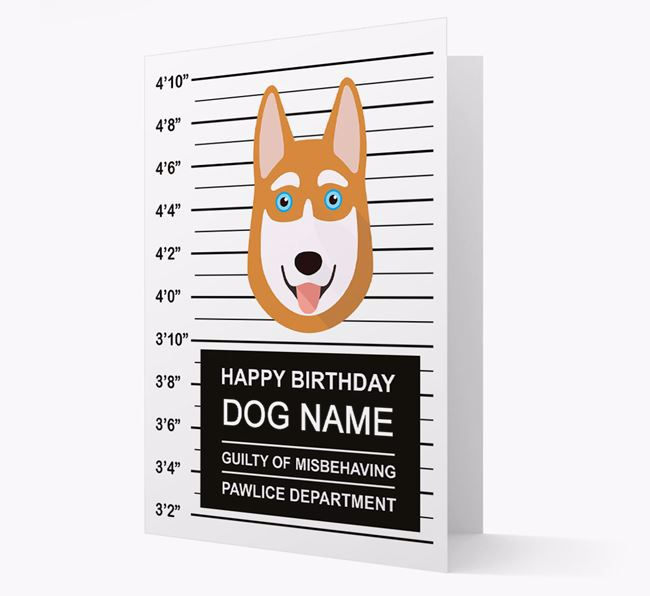 Personalized Card 'Guilty of Misbehaving' with Husky Icon