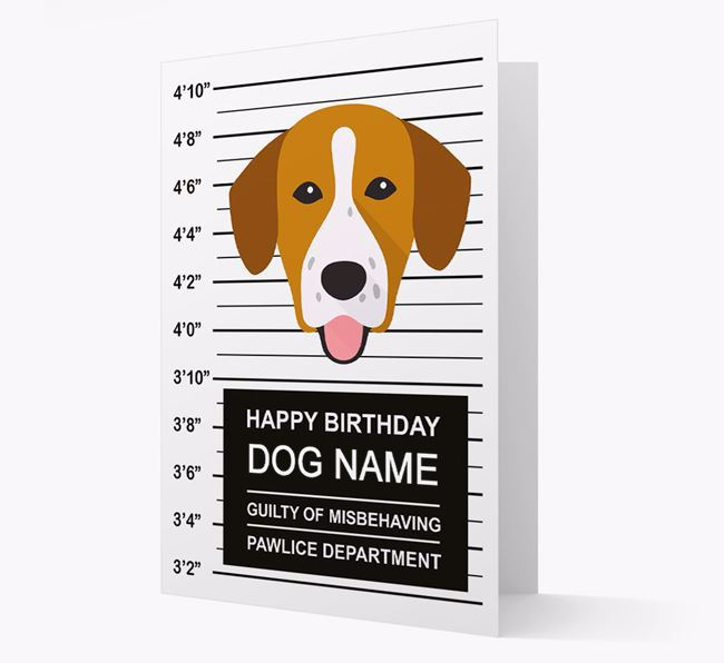 Personalised Card 'Guilty of Misbehaving' with Springador Icon