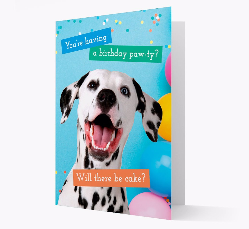 Birthday Card 'You're Having a Pawty' with Bearded Collie Icon on back