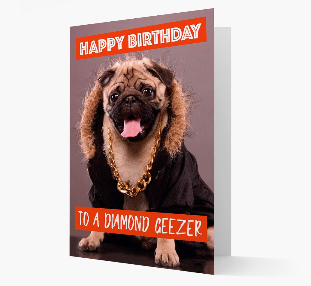 Birthday Card 'To A Diamon Geezer' with Dog Icon on back