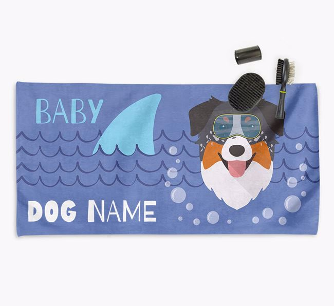 'Baby Shark' Personalized Towel for your Aussie Shepherd