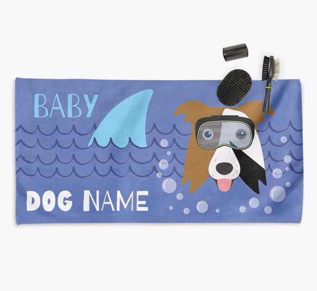 'Baby Shark' Personalized Towel for your Border Collie