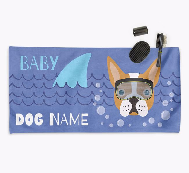 'Baby Shark' Personalized Towel for your Boston Terrier
