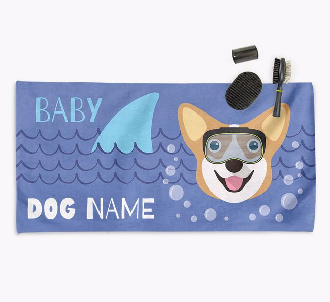 'Baby Shark' Personalised Towel for your Corgi