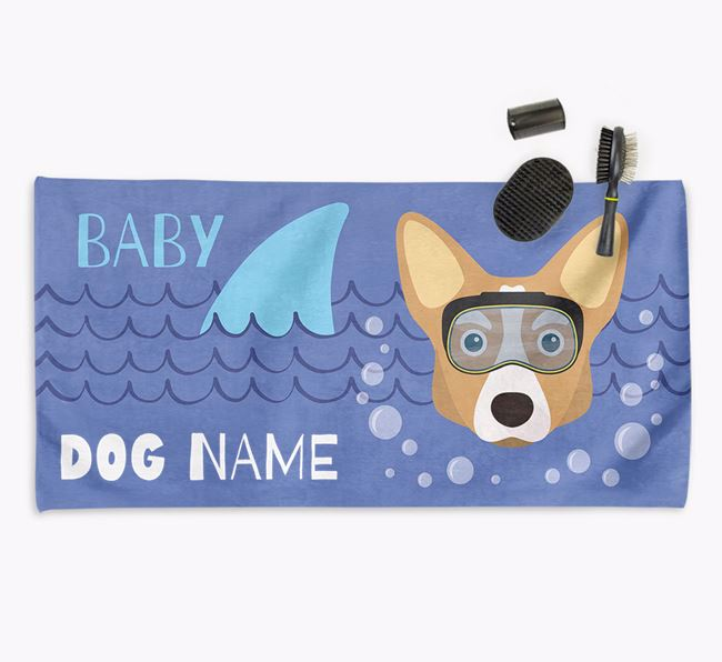 'Baby Shark' Personalized Towel for your Corgi