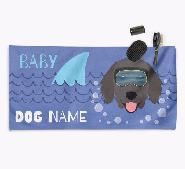 'Baby Shark' Personalized Towel for your Flatcoat