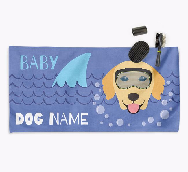 'Baby Shark' Personalised Towel for your Golden Retriever