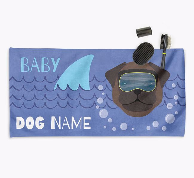 'Baby Shark' Personalised Towel for your Pug