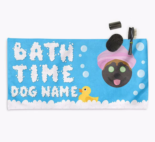 'Bubble Bath Time' Personalised Dog Towel for your Akita